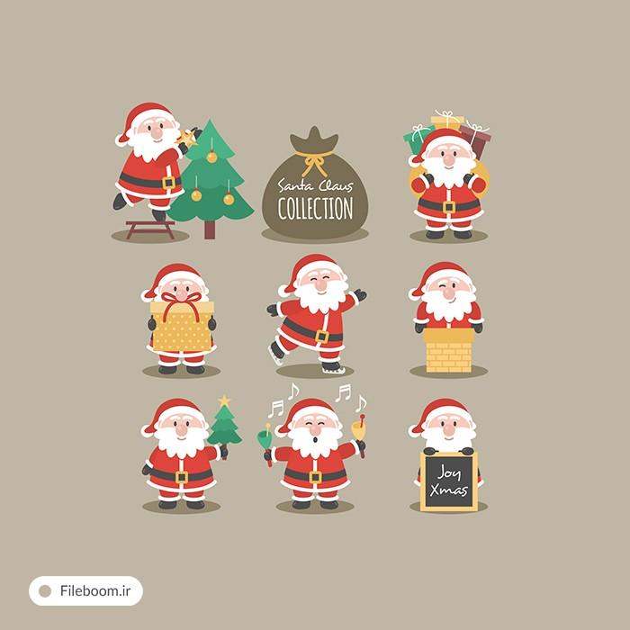 وکتور کاراکترهای بابا نوئل و کریسمس