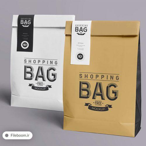 موک آپ بسته بندی بصورت کیسه فروشگاهی