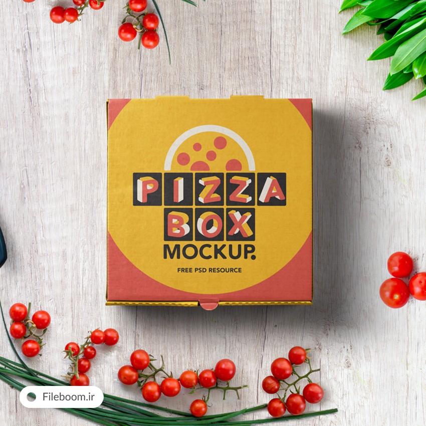 موک آپ جعبه پیتزا