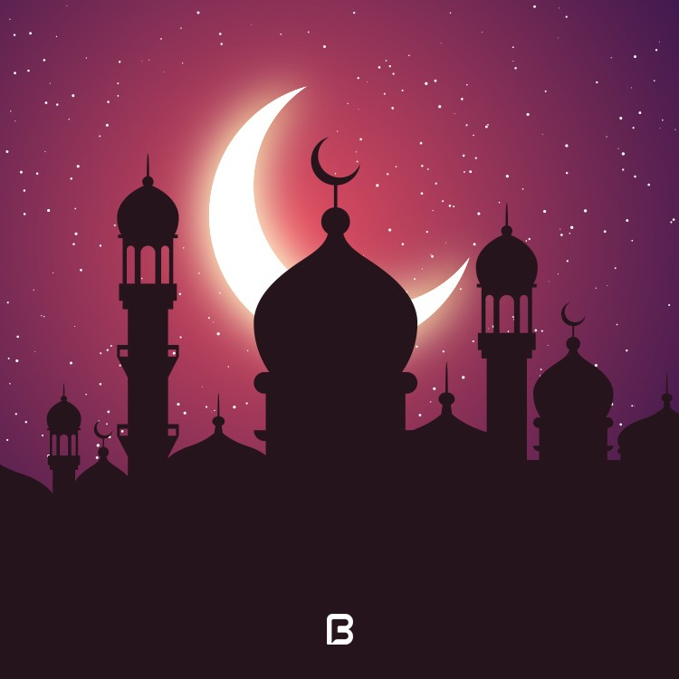 وکتور پس زمینه زیبا و گرافیکی با موضوع ماه رمضان
