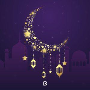 وکتور پس زمینه زیبا با موضوع ماه رمضان به رنگ بنفش