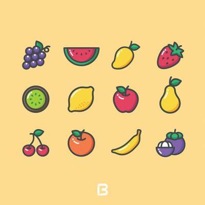 مجموعه آیکون با موضوع میوه