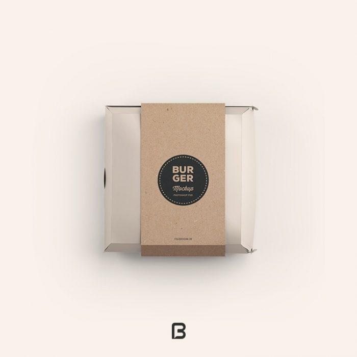 موکاپ جعبه همبرگر به صورت لایه باز