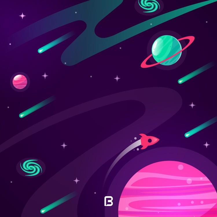 وکتور پس زمینه زیبا با موضوع فضا و سیارات