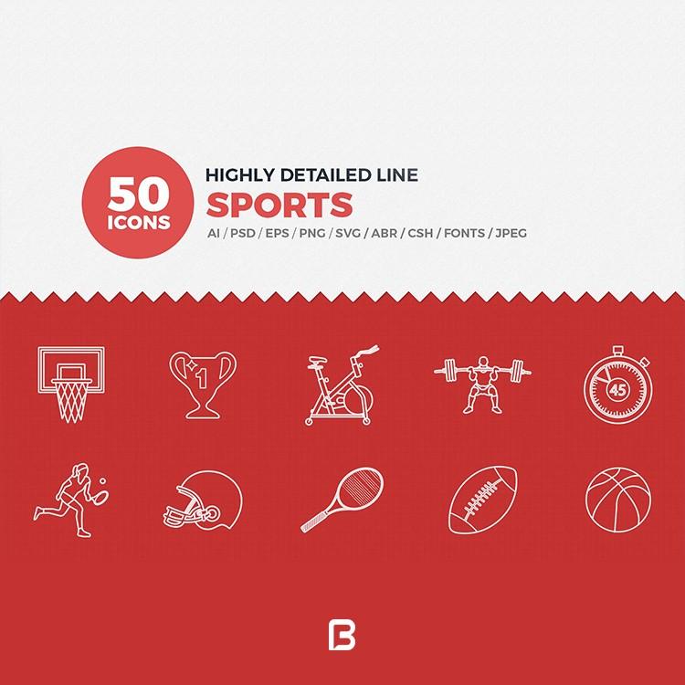 مجموعه آیکون خطی ورزش های مختلف