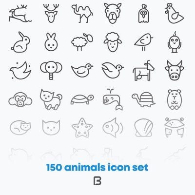 مجموعه آیکون های خطی با موضوع حیوانات