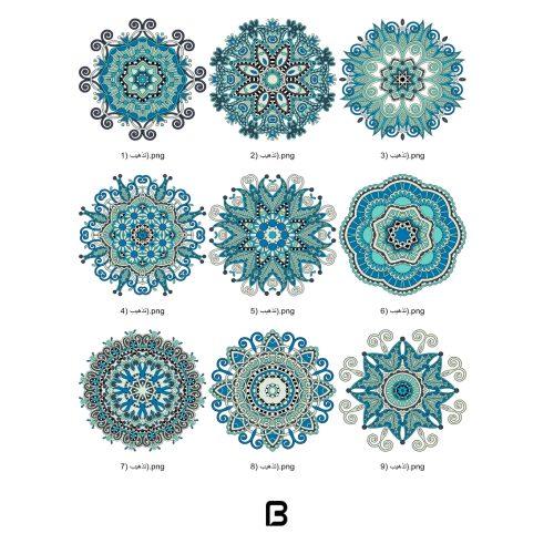 مجموعه لایه باز ۹ وکتور رنگی اسلیمی و تذهیب