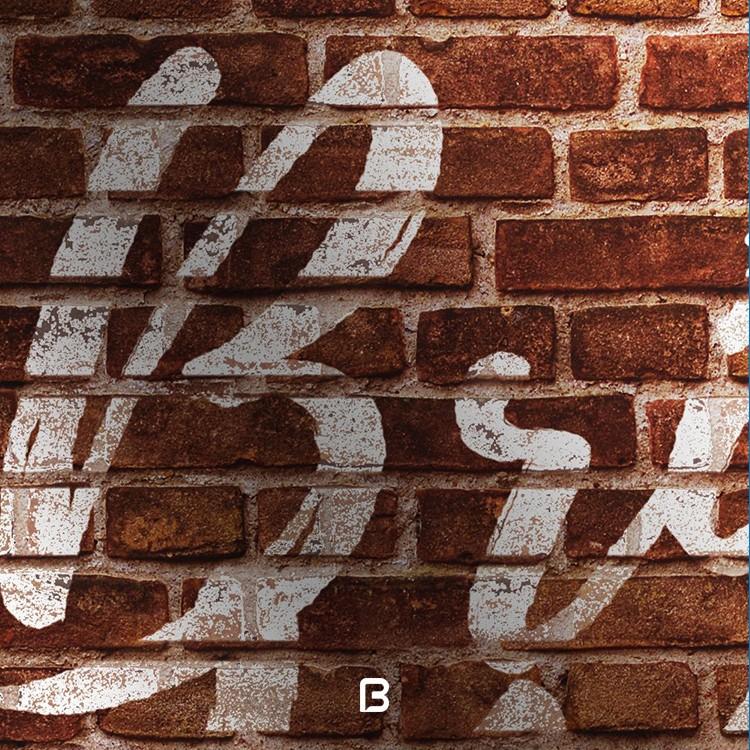 موکاپ لوگو بر روی دیوار آجری