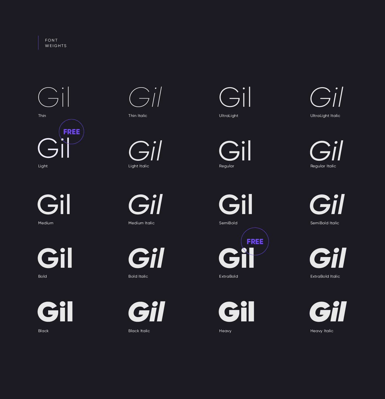 مجموعه فونت انگلیسی گیلروی Gilroy Font