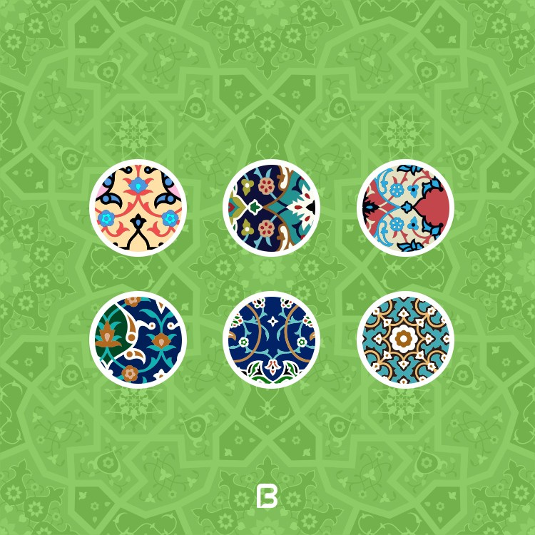 مجموعه ۱۵ وکتور اسلیمی و تذهیب بصورت پترن