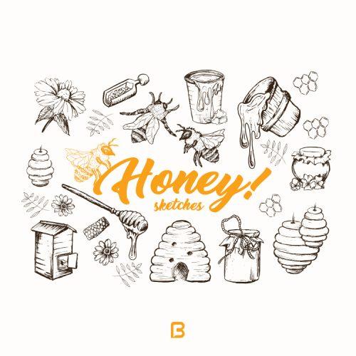 وکتور زیبا با موضوع عسل و زنبورعسل