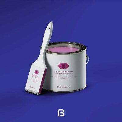 موکاپ لایه باز سطل رنگ به همراه قلمو