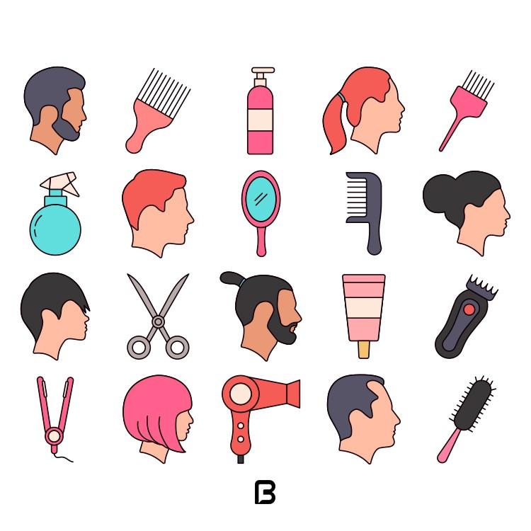 مجموعه آیکون با موضوع آرایشگاه و مدل مو