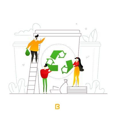 وکتور فلت بازیافت زباله