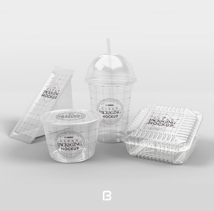موکاپ ظرف پلاستیکی شفاف