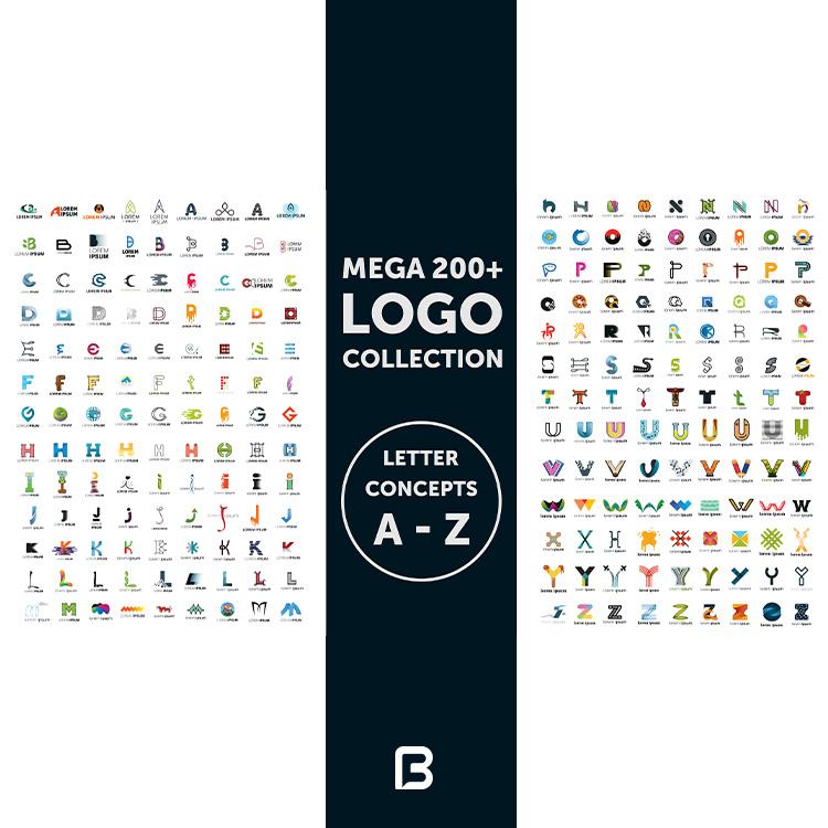 مجموعه ۲۰۰ لوگو حروف انگلیسی A تا Z