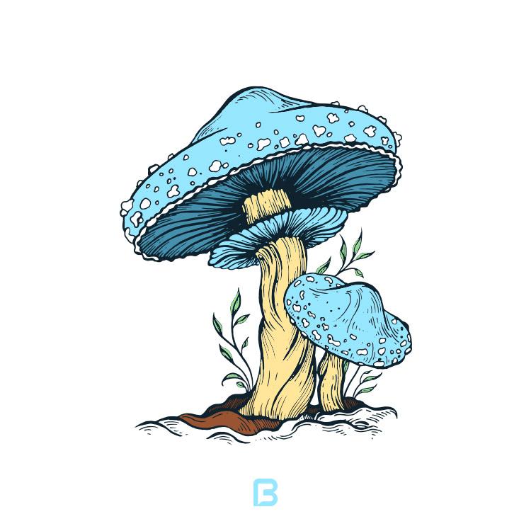 وکتور قارچ کارتونی آبی
