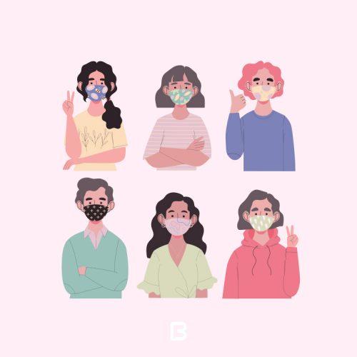 6 وکتور کاراکتر کارتونی به همراه ماسک