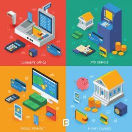 4 وکتور ایزومتریک بانکداری الکترونیکی