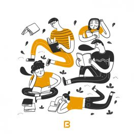 وکتور دختر و پسر در حال خواندن کتاب
