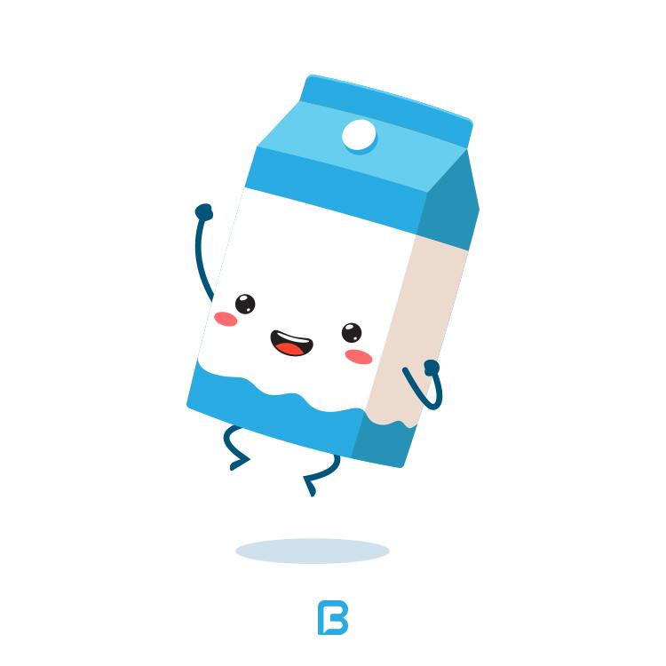 مجموعه وکتور کاراکتر کارتونی پاکت شیر