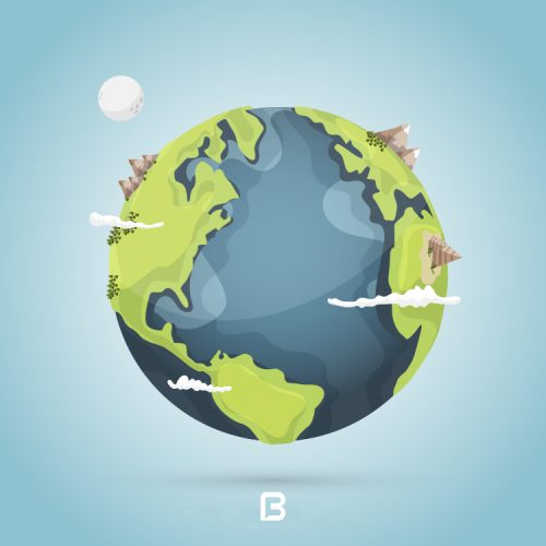 وکتور کره زمین کارتونی لایه باز