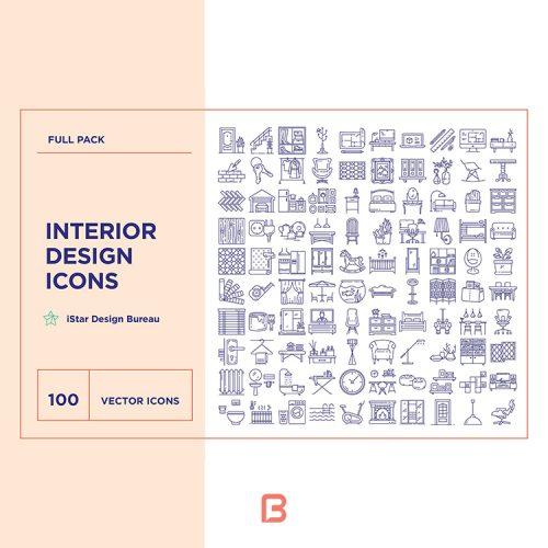 مجموعه آیکون با موضوع طراحی داخلی