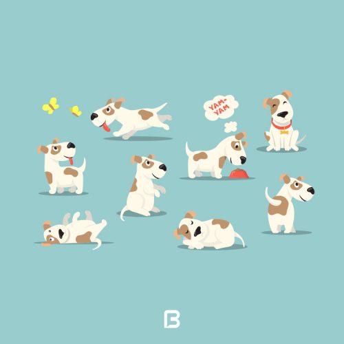 مجموعه 8 وکتور سگ کارتونی