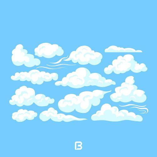 وکتور ابرهای کارتونی در حالات مختلف